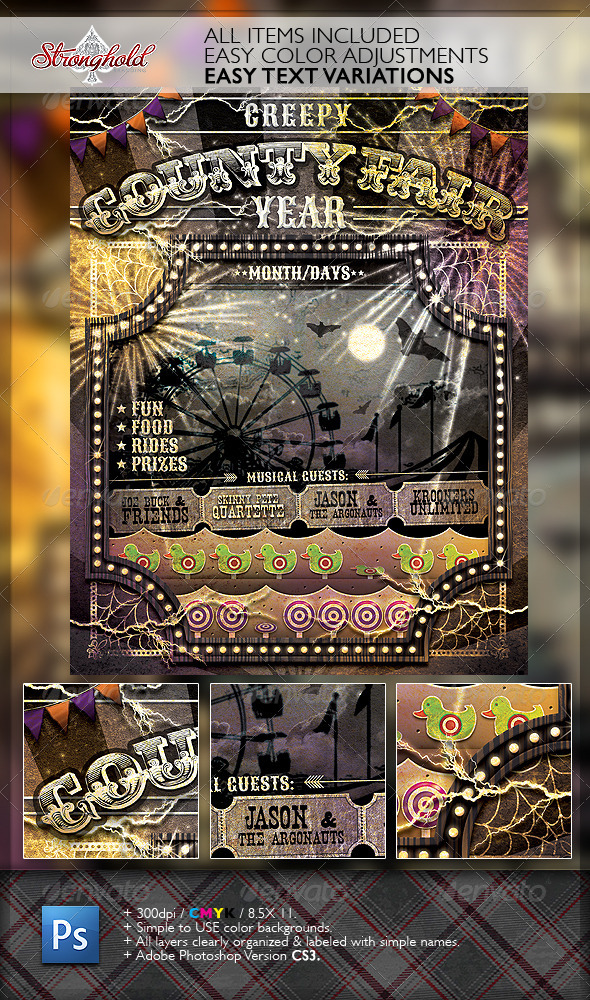 GraphicRiver Vintage Creepy Fair Carnival Flyer 6365143