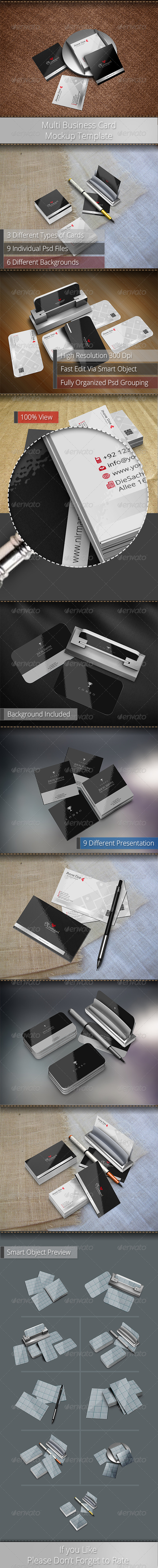 GraphicRiver Multi Business Card Mockup Template 6348795