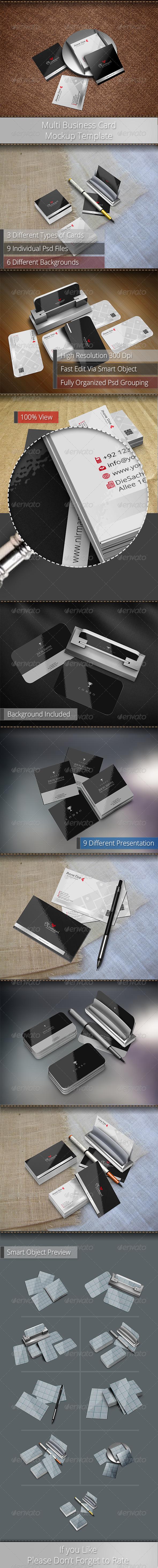 GraphicRiver Multi Business Card Mockup Template 6348795
