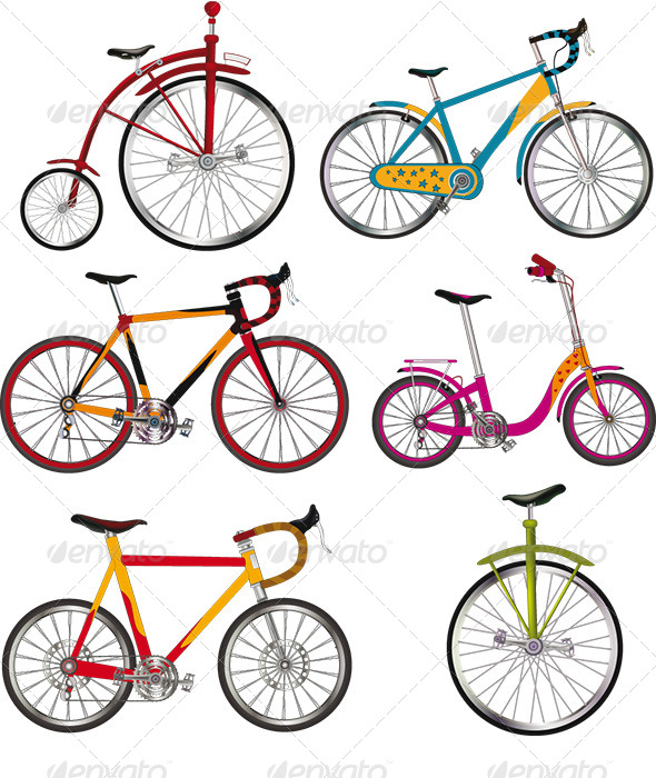 GraphicRiver The Complete Set of Bicycles Clip Art 6365397