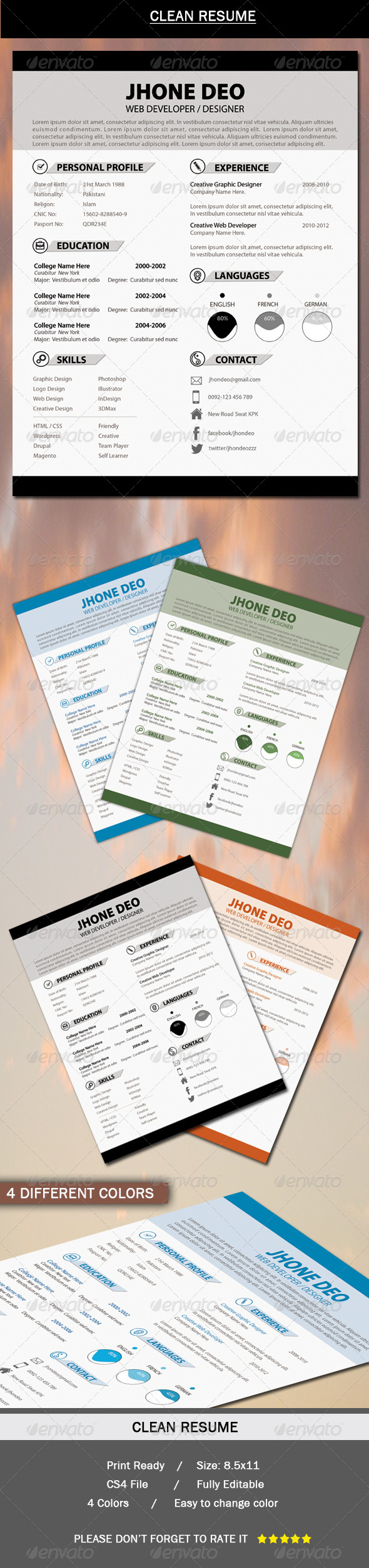 GraphicRiver Clean Resume 6331502