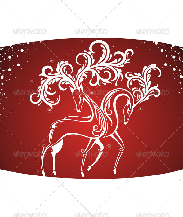 GraphicRiver Christmas Card with Decorative Deers 6365612