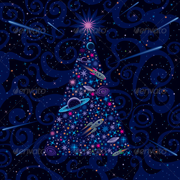 GraphicRiver New Year and Christmas Tree Cosmic Background 6365632