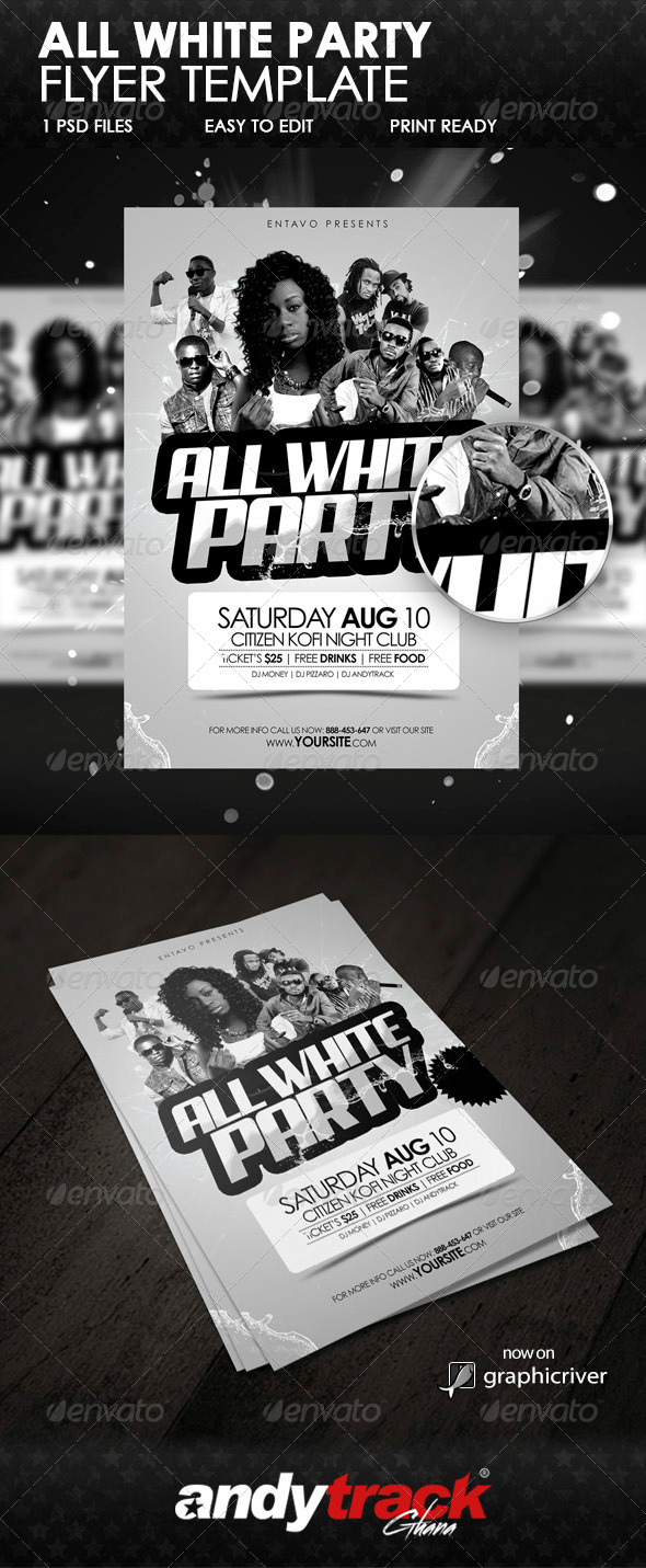GraphicRiver All White Party Flyer Template 6365641