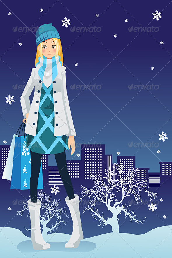 GraphicRiver Winter Shopping Girl 6365697