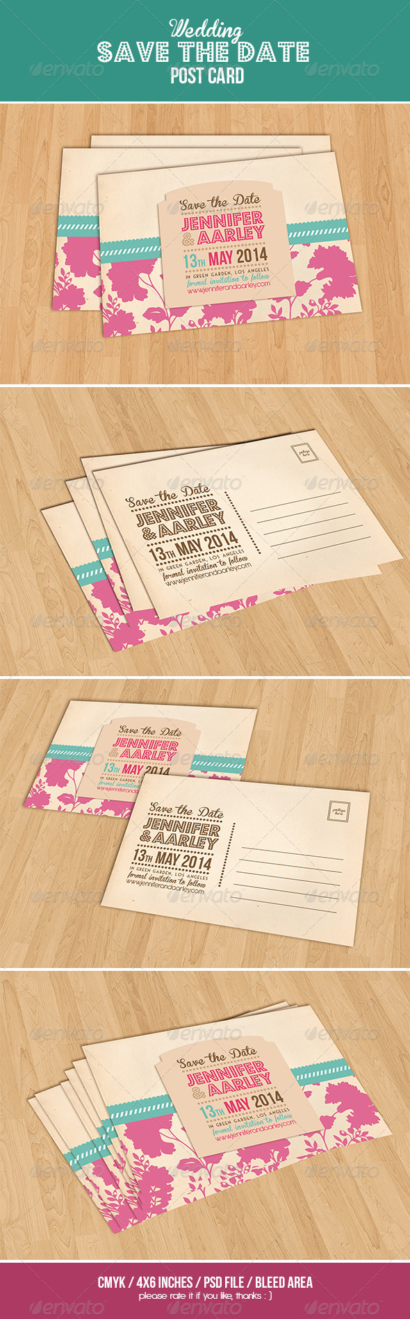 GraphicRiver Wedding Invitation Post Card 6366282