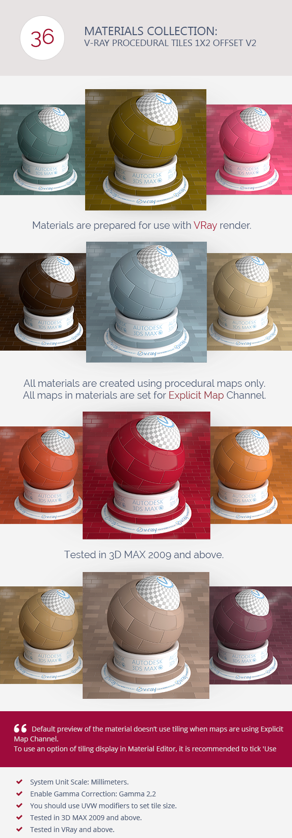 3DOcean V-Ray Procedural Tiles 1x2 Offset V2 6366419