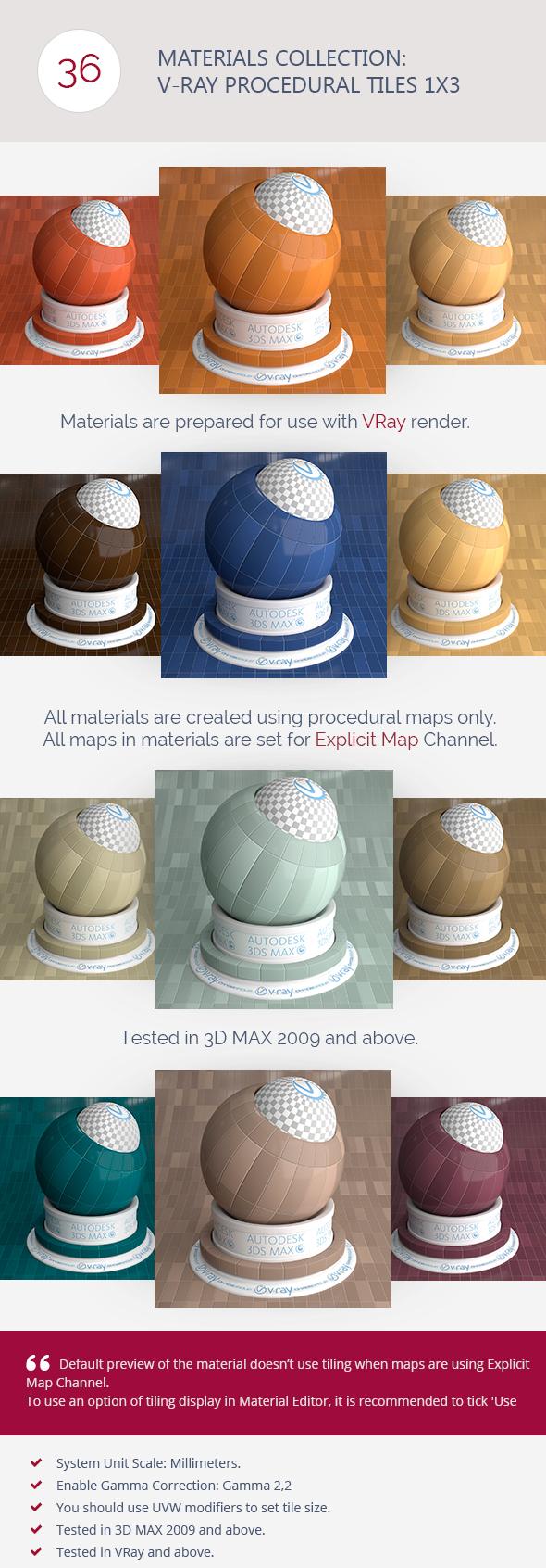 3DOcean V-Ray Procedural Tiles 1x3 6366443