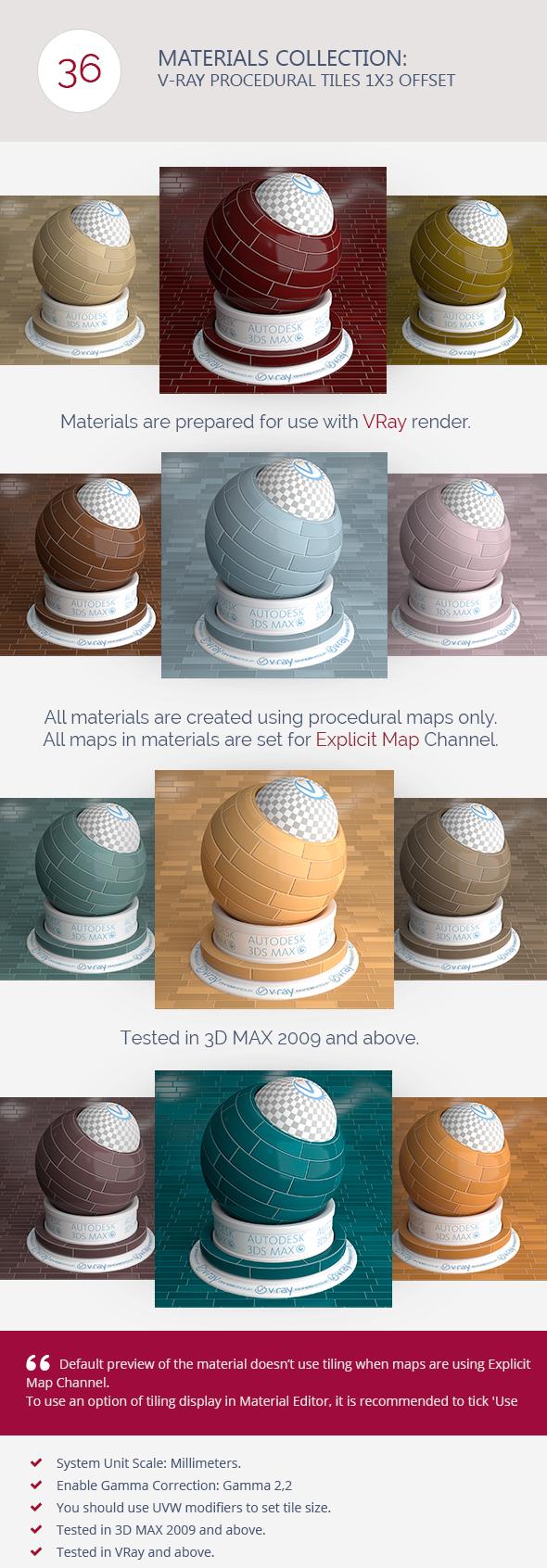 3DOcean V-Ray Procedural Tiles 1x3 Offset 6366606