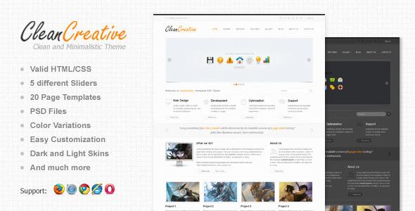 Clean Creative: Clean, Minimal Website Template - ThemeForest