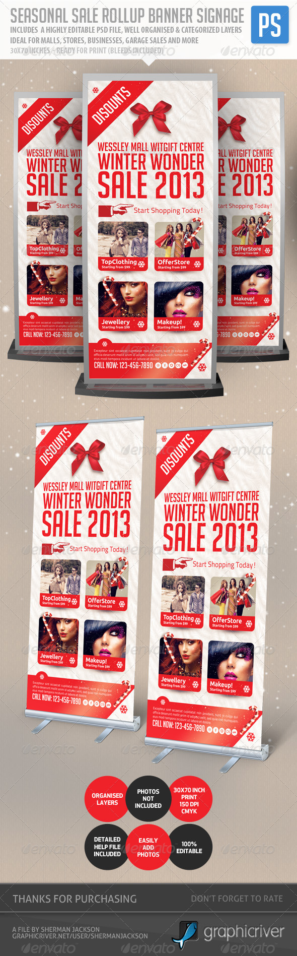 GraphicRiver Seasonal Sale Rollup Banner Signage 6366762