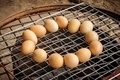 Chicken eggs Grilled over stove gridiron. - PhotoDune Item for Sale