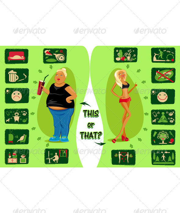 GraphicRiver Healthy Lifestyle and Destructive Life 6366898