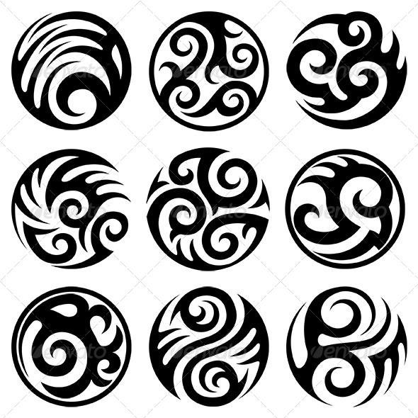 GraphicRiver Round Tattoos Set 6367088