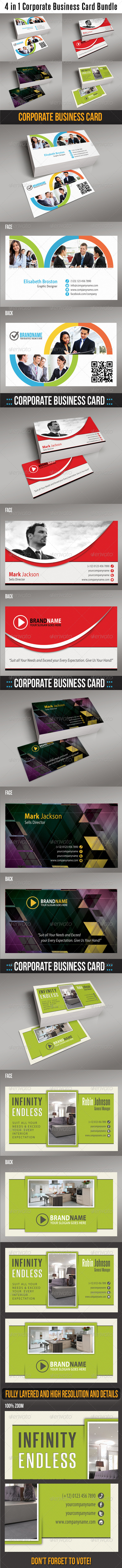GraphicRiver 4 in 1 Corporate Business Card Bundle 6367351