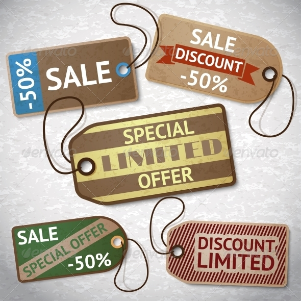 GraphicRiver Collection of Discount Cardboard Sale Labels 6367732