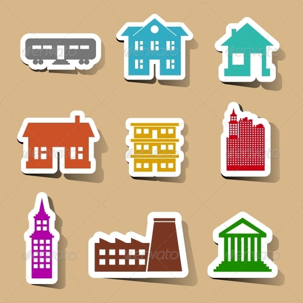 GraphicRiver Building Icons Set on Color Stickers 6367741