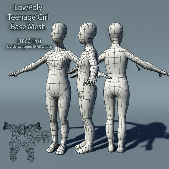 Low Poly Teenage Girl Base Mesh - 3DOcean Item for Sale