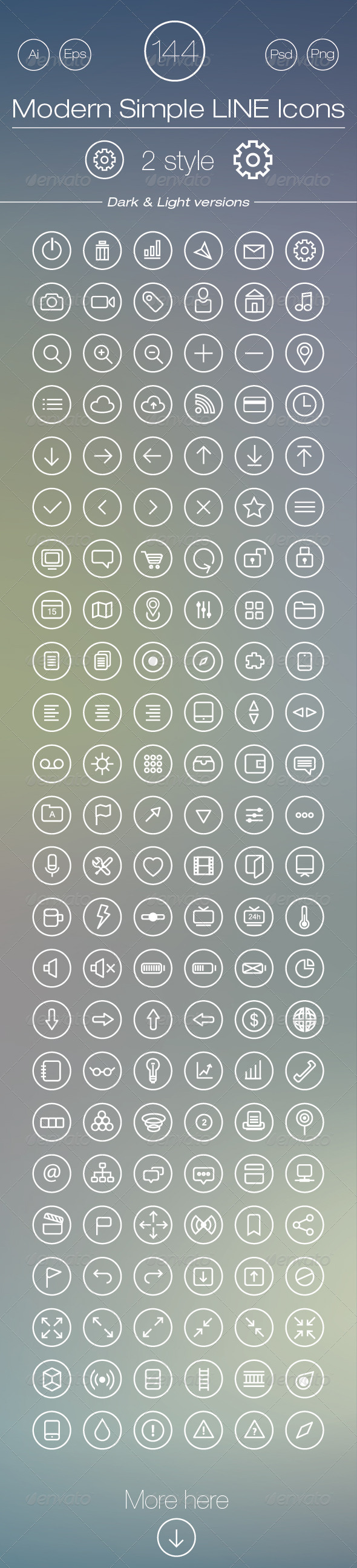 GraphicRiver 144 Modern Simple Line Icons 6367805