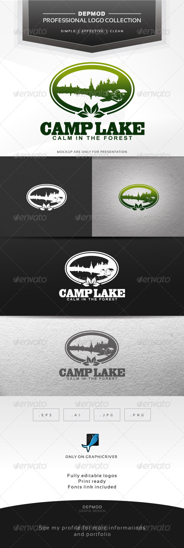Camp Lake Logo - Nature Logo Templates