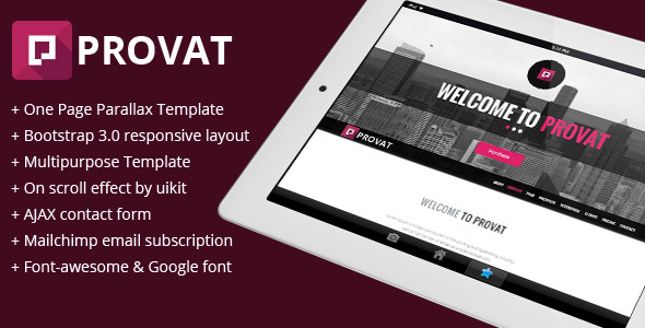 Provat - Responsive One Page Parallax Template