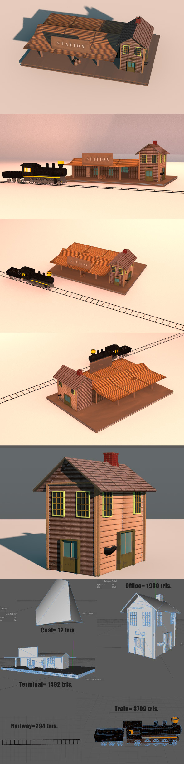 3DOcean Low Poly Wild West Train Station 6348245