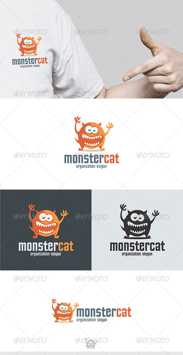 Monster Cat Logo - Animals Logo Templates