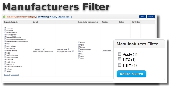Manufacturers Filter for OpenCart.