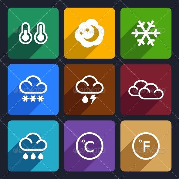 GraphicRiver Weather Flat Icons Set 28 6369374