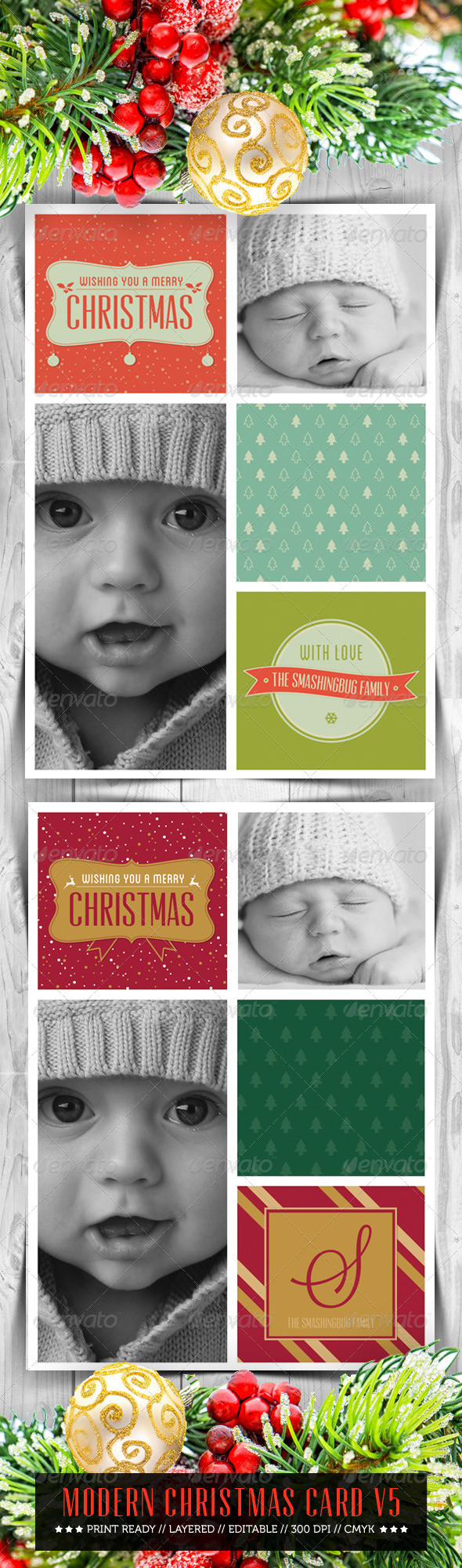 GraphicRiver Modern Christmas Card V5 6354422