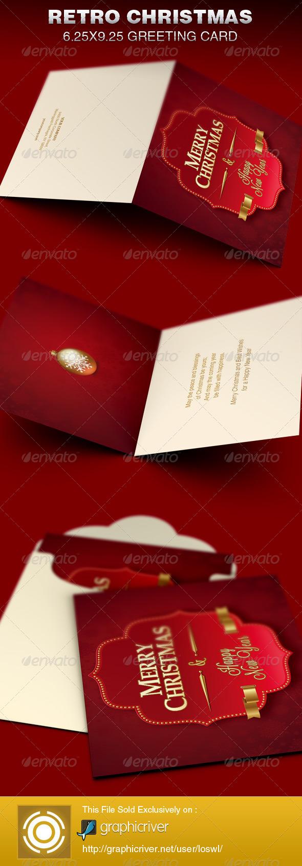 GraphicRiver Retro Christmas Greeting Card Template 6369632