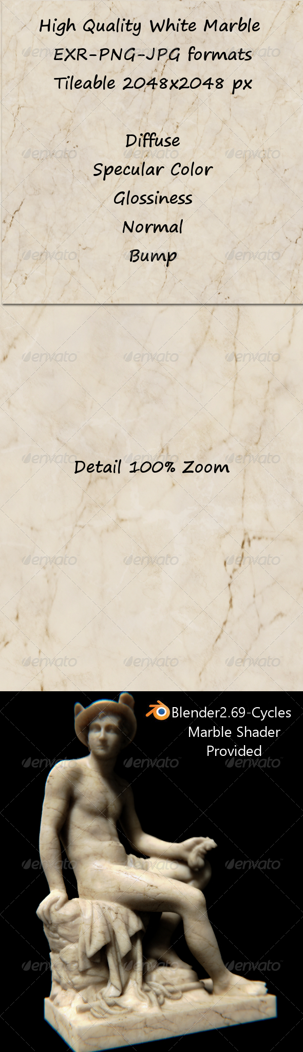 3DOcean Tileable White Marble 6369634