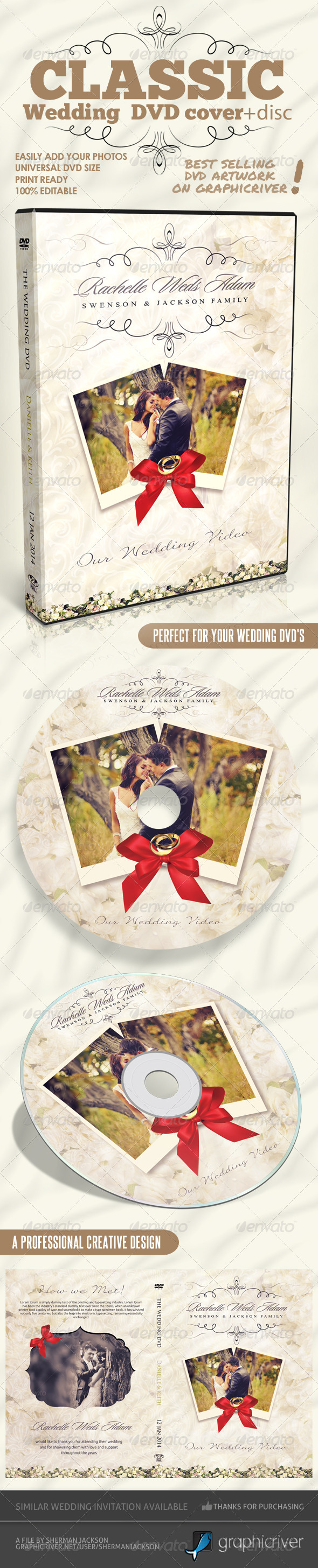 GraphicRiver Classique Wedding DVD Covers 6370014