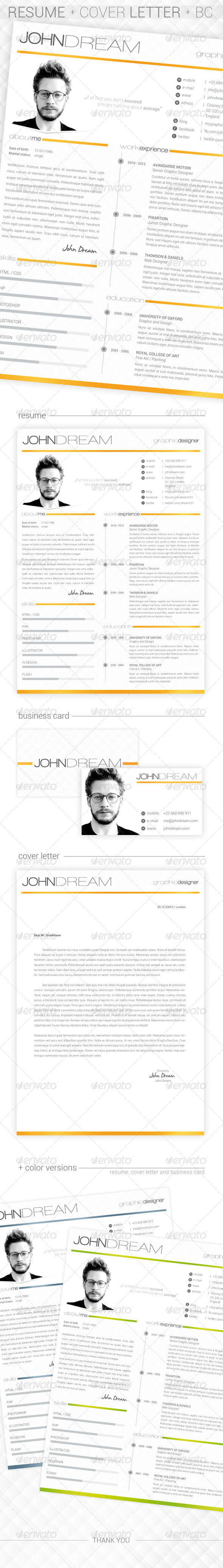 GraphicRiver JDream Resume & Cover Letter & BC 6334221