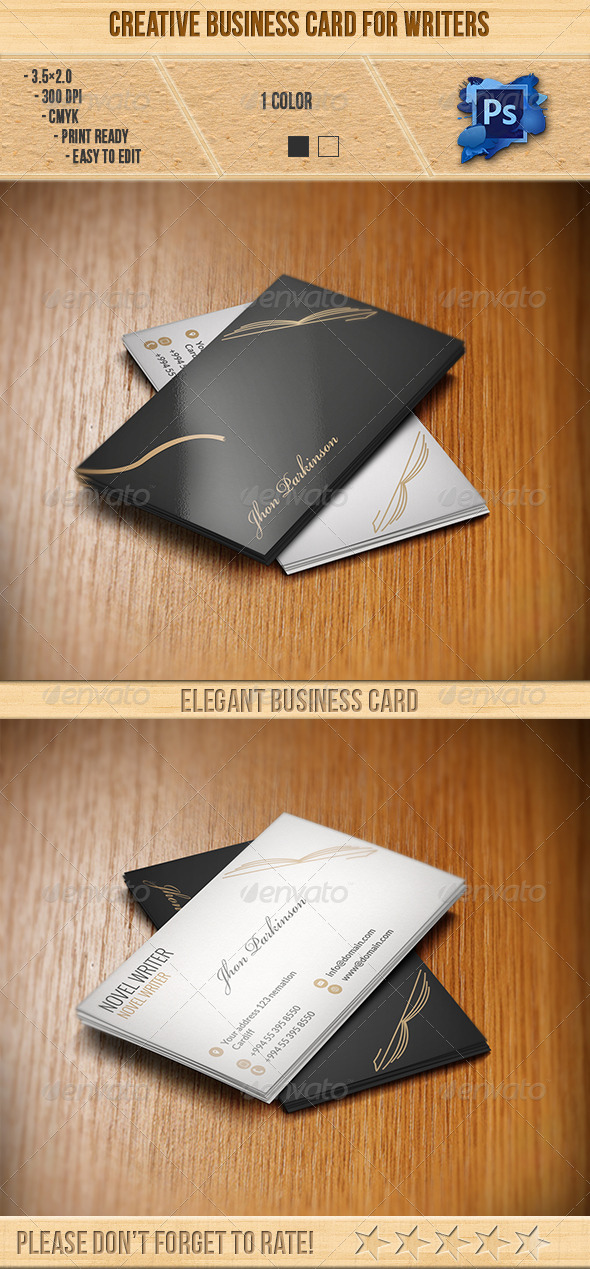 GraphicRiver Creative Business Card for Writers 6370618