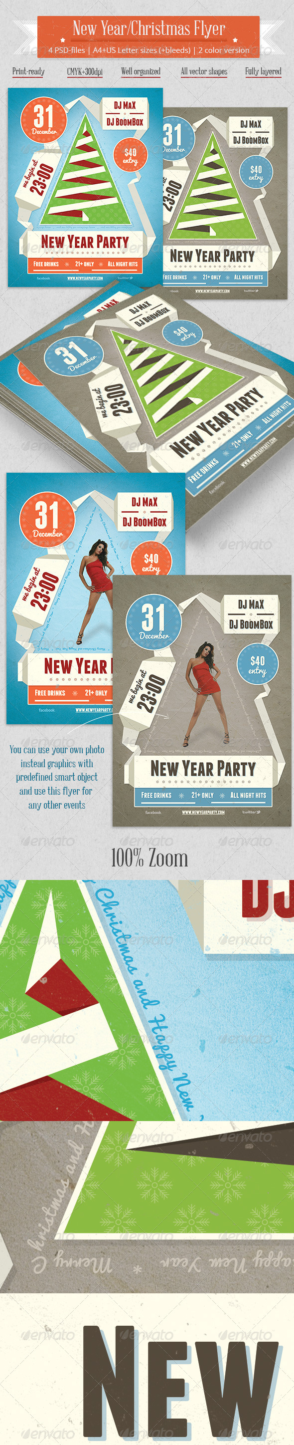 GraphicRiver New Year Party Flyer Vintage Ribbon Style 6353450