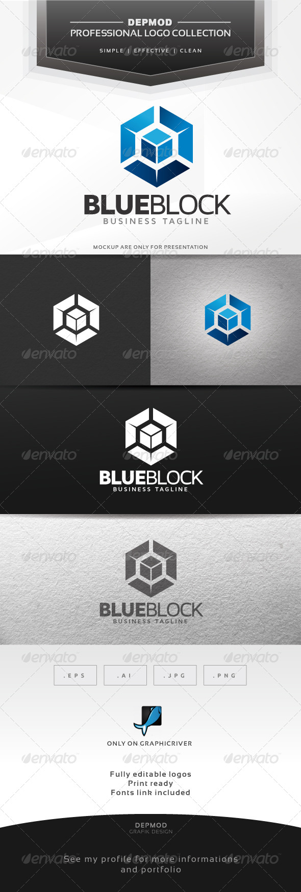 Blue Block Logo - Abstract Logo Templates
