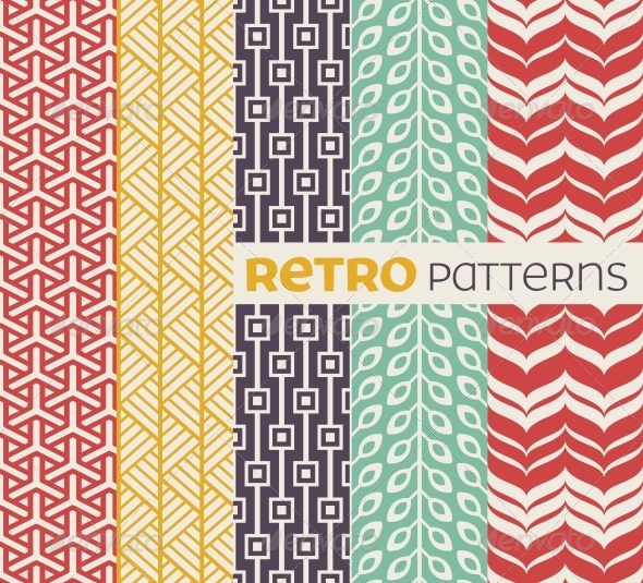 Set of Vector Seamless Patterns in Retro Style