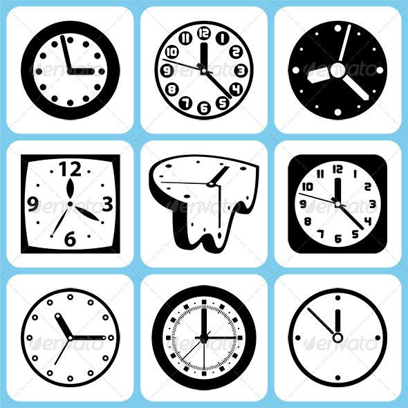 GraphicRiver Clock Icons Set 6372069
