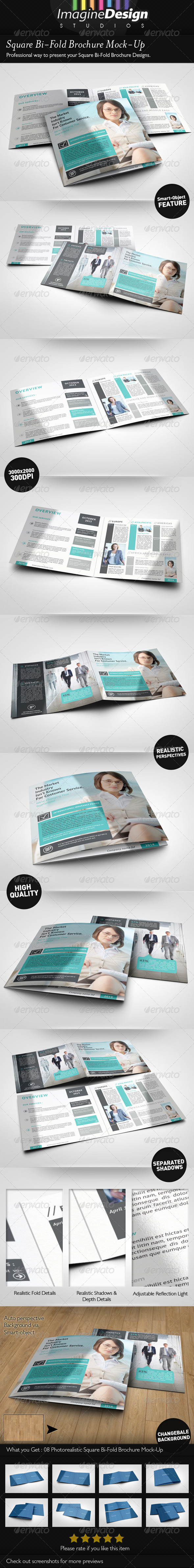 GraphicRiver Square Bi-Fold Brochure Mock-Ups 6372094
