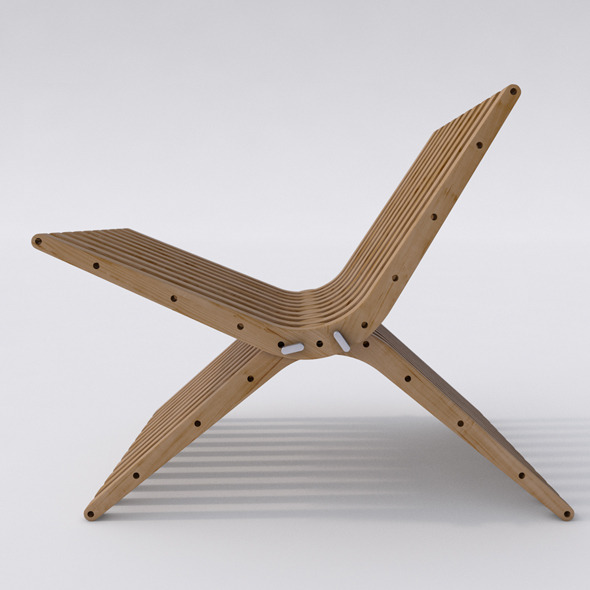 3DOcean Wooden Lounge Chair BOOMERANG 6372098