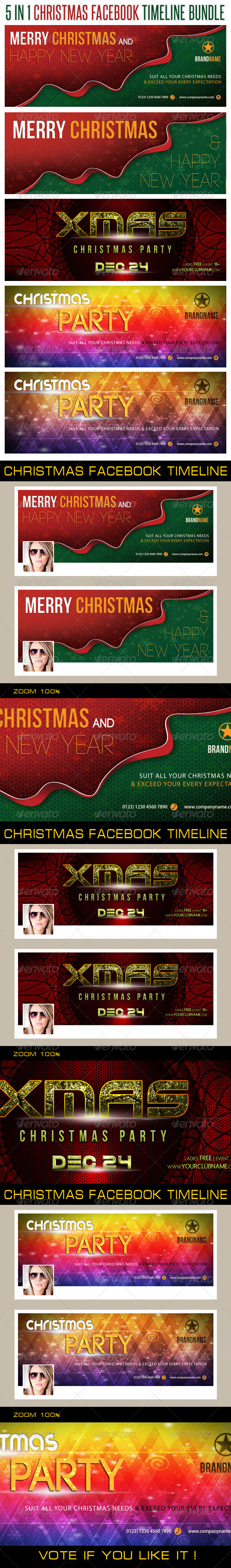 GraphicRiver 5 in 1 Christmas Holidays Facebook Timeline Bundle 6372161