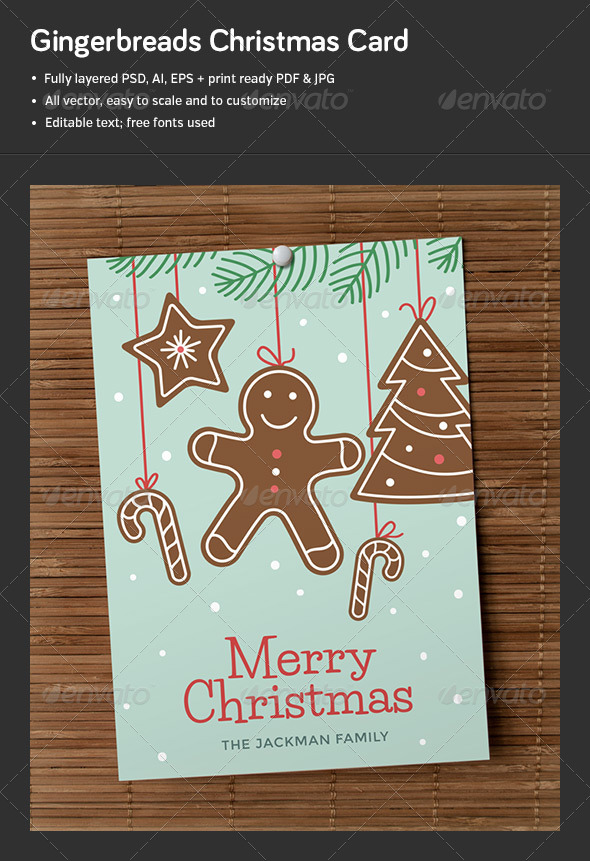GraphicRiver Gingerbreads Christmas Card 6372169
