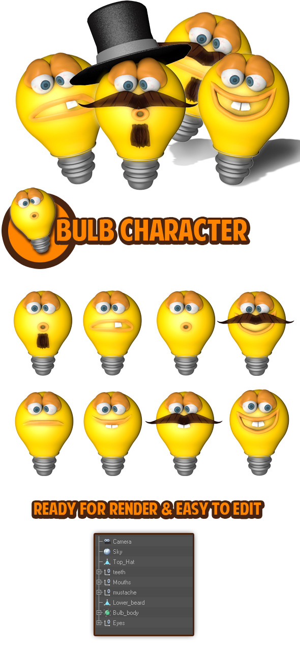 Bulb Character - 3DOcean Item for Sale