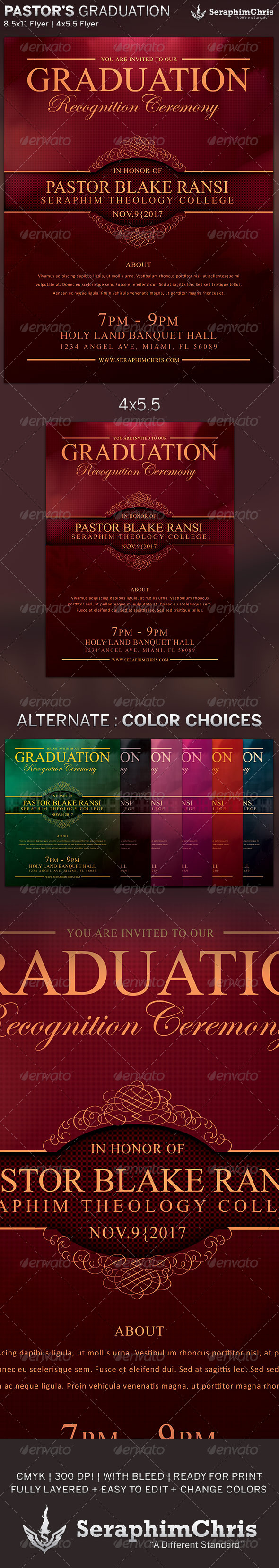 GraphicRiver Elegant Pastor s Graduation Flyer Template 6341167
