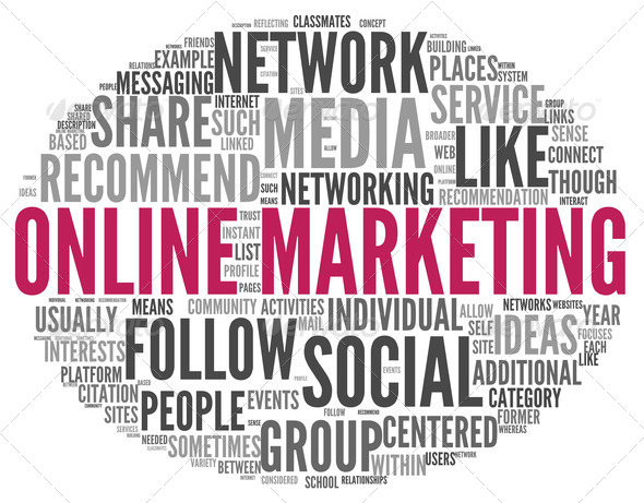 Online marketing concept in word tag cloud - Stock Photo - Images
