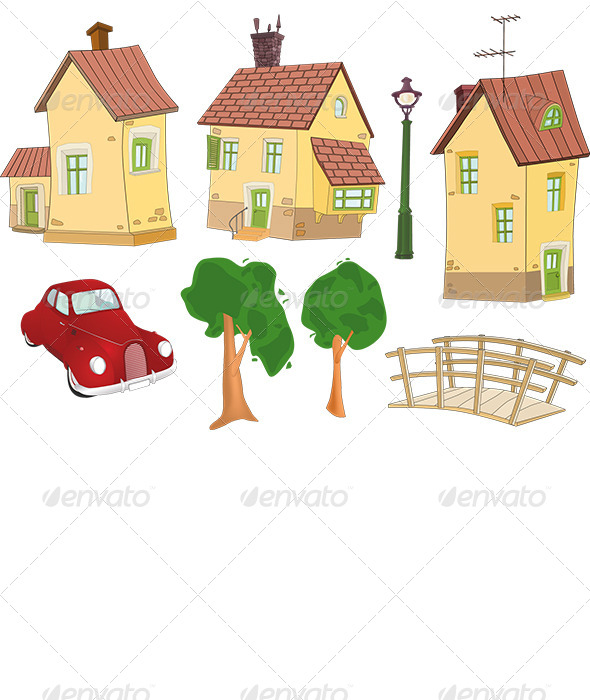 GraphicRiver Set of Houses Trees the Car and the Bridge 6373322