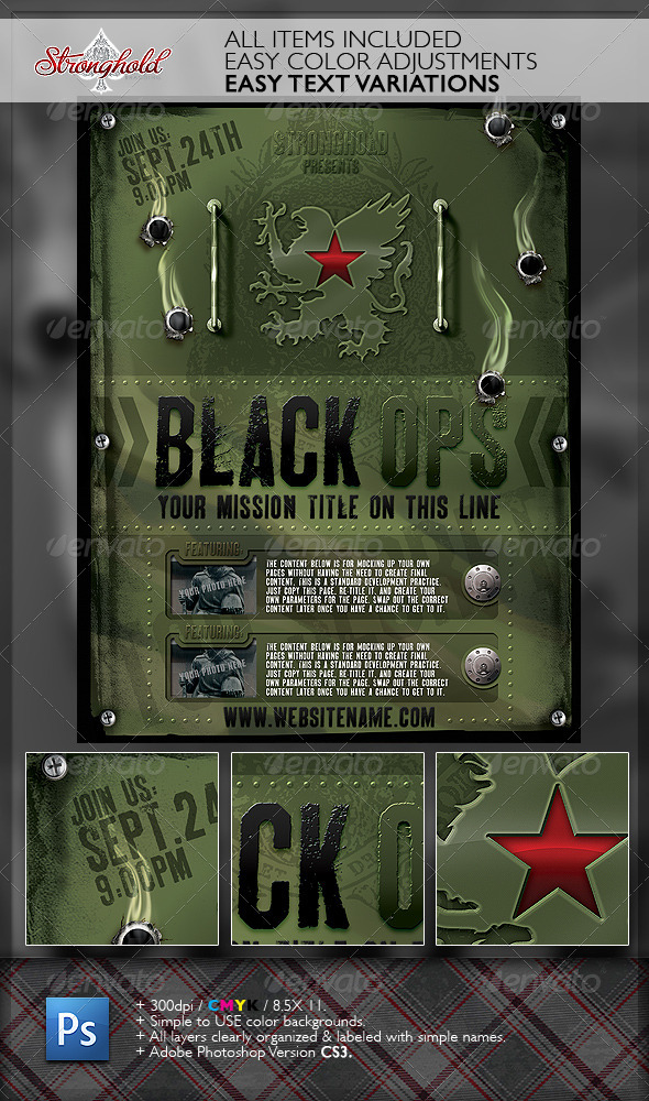 GraphicRiver Vintage Black Ops Military Flyer Template 6373399