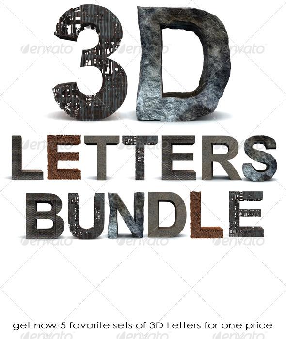 GraphicRiver 3D Letters Bundle 665066