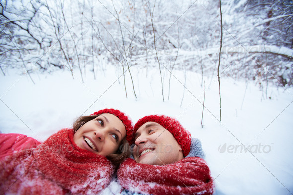 Having fun in snow - Stock Photo - Images